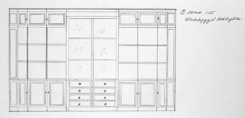 Ritning platsbyggd bokhylla